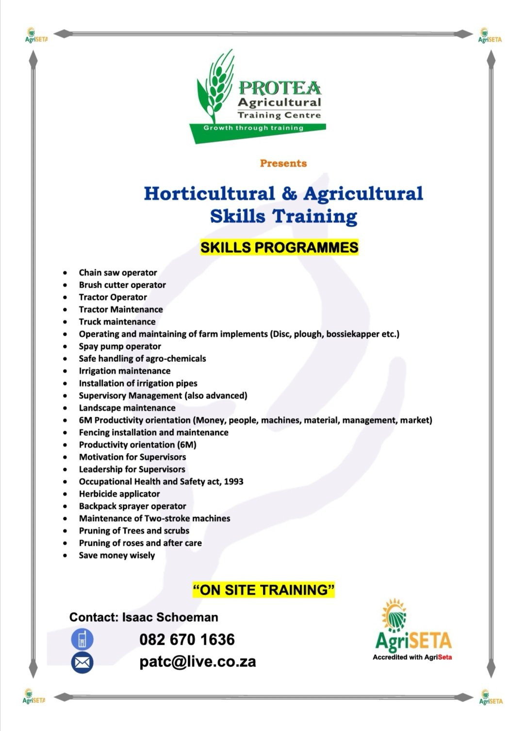 Business Listing for Protea Agricultural Training Centre