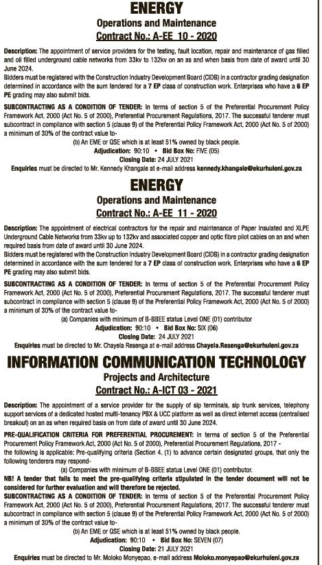 The Appointment of a Service Provider for Upgrading of Ten (10) Existing Air Quality Monitoring Stations: Supply and Installation of Meteorological Sensors and Equipment and Particulate Matter 2.5 (pm2.5) Analysers from Date of Award until 30 June 2022
