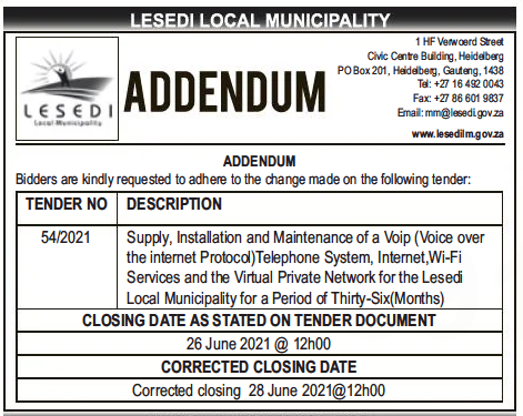 Erratum- Supply, Installation and Maintenance of a VOIP (Voice Over the Internet Protocol) Telephone System, Internet, Wi-Fi Services and the Virtual Private Network for the Lesedi Local Municipality for a Period of Thirty-six (36) Months