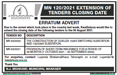 Erratum- Provision of Short-Term Insurance for a Period of 36 Months (1 October 2021-30 September 2024)