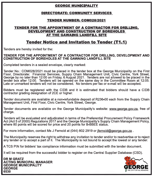 Tender for the Appointment of a Contractor for Drilling, Development and Construction of Boreholes at the Gawaing Landfill Site
